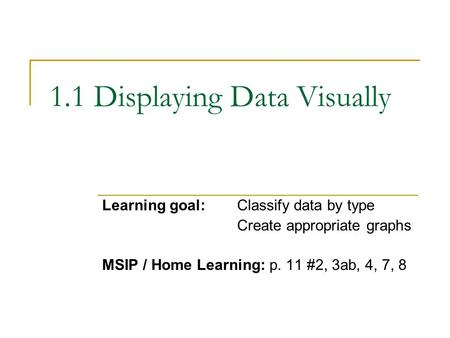 1.1 Displaying Data Visually Learning goal:Classify data by type Create appropriate graphs MSIP / Home Learning: p. 11 #2, 3ab, 4, 7, 8.