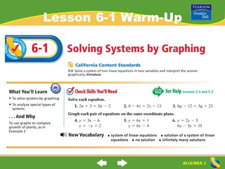 "ALGEBRA 1 Lesson 6-1 Warm-Up. ALGEBRA 1 ""Solving Systems by Graphing"" (6-1) What is a ""system of linear equations""? What is the ""solution of the system."