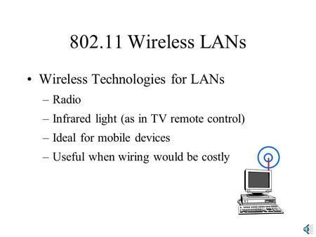 802.11 Wireless LANs Wireless Technologies for LANs –Radio –Infrared light (as in TV remote control) –Ideal for mobile devices –Useful when wiring would.