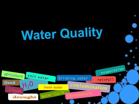 Water Quality Water Cycle drought contamination desalination Drinking water H20H20 fresh water flood salt water clouds evaporation agriculture.
