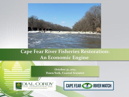 Cape Fear River Fisheries Restoration: An Economic Engine October 31, 2013 Dawn York, Coastal Scientist October 31, 2013 Dawn York, Coastal Scientist.