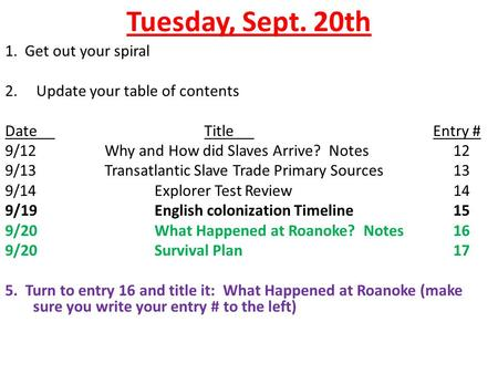 Tuesday, Sept. 20th 1. Get out your spiral 2. Update your table of contents DateTitle Entry # 9/12Why and How did Slaves Arrive? Notes12 9/13Transatlantic.