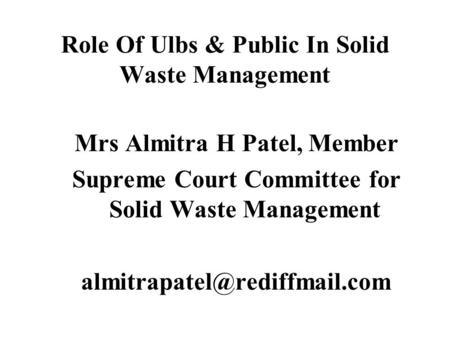 students role in managing solid waste Public participation in solid waste management in small island developing states 40 the solid waste management project cycle 23 41 solid waste 23 42 solid waste role that an effective public participation process can play in sustainable development.
