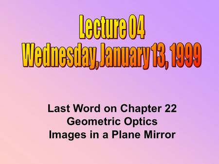 Last Word on Chapter 22 Geometric Optics Images in a Plane Mirror.