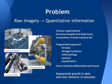 Problem Raw imagery -> Quantitative information Courtesy of SeaGIS Courtesy of UWA Various organisations (Commonwealth and State Govt, universities, Private.
