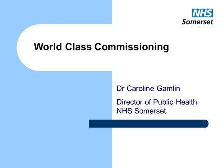 Dr Caroline Gamlin Director of Public Health NHS Somerset World Class Commissioning.