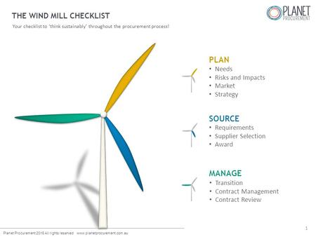 Planet Procurement 2015 All rights reserved www.planetprocurement.com.au THE WIND MILL CHECKLIST Your checklist to 'think sustainably' throughout the procurement.
