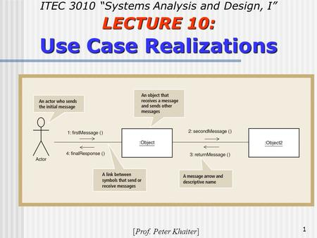 "1 ITEC 3010 ""Systems Analysis and Design, I"" LECTURE 10: Use Case Realizations [Prof. Peter Khaiter]"