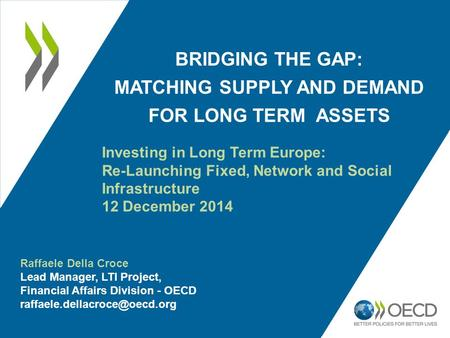 BRIDGING THE GAP: MATCHING SUPPLY AND DEMAND FOR LONG TERM ASSETS Investing in Long Term Europe: Re-Launching Fixed, Network and Social Infrastructure.