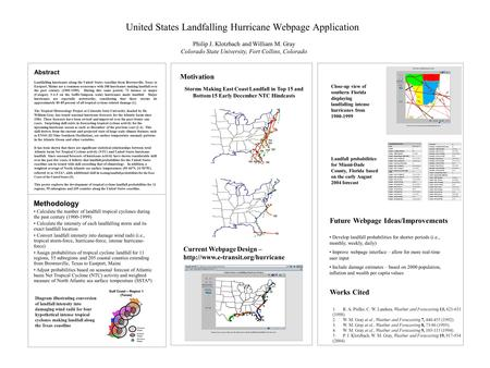 United States Landfalling Hurricane Webpage Application Philip J. Klotzbach and William M. Gray Colorado State University, Fort Collins, Colorado Abstract.