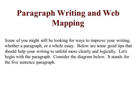 Paragraph Writing and Web Mapping Some of you might still be looking for ways to improve your writing, whether a paragraph, or a whole essay. Below are.