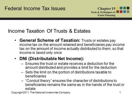 Federal Income Tax Issues Chapter 19 Tools & Techniques of Estate Planning Copyright 2011, The National Underwriter Company1 General Scheme of Taxation: