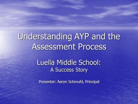 Understanding AYP and the Assessment Process Luella Middle School: A Success Story Presenter: Aaryn Schmuhl, Principal.