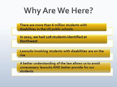 There are more than 6 million students with disabilities in the US public schools In 2010, we had 108 students identified at Northwest Lawsuits involving.