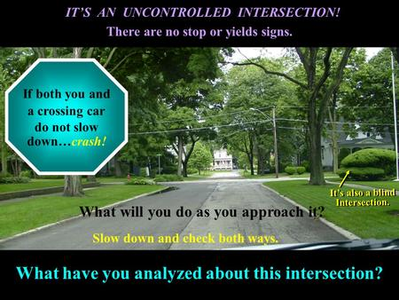What have you analyzed about this intersection? IT'S AN UNCONTROLLED INTERSECTION! There are no stop or yields signs. IT'S AN UNCONTROLLED INTERSECTION!