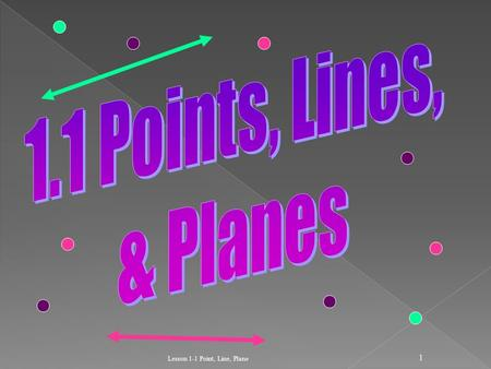 Lesson 1-1 Point, Line, Plane 1. 2  Points do not have actual size.  How to Sketch: Using dots  How to label: Use capital letters Never name two points.