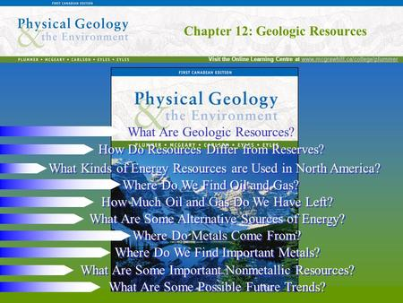 Chapter 12: Geologic Resources Visit the Online Learning Centre at www.mcgrawhill.ca/college/plummerwww.mcgrawhill.ca/college/plummer Chapter 12: Geologic.