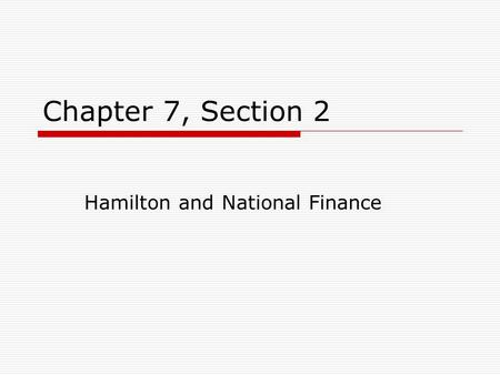 Hamilton and National Finance