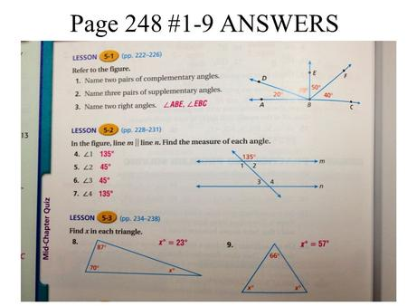Page 248 #1-9 ANSWERS.
