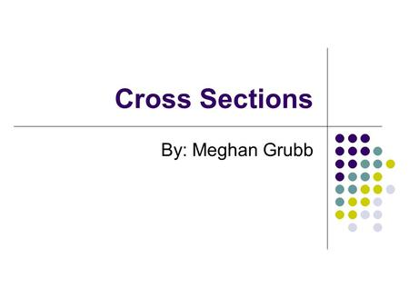 Cross Sections By: Meghan Grubb. What are cross sections? A cross sectional area results from the intersection of a solid with a plane, usually an x-y.