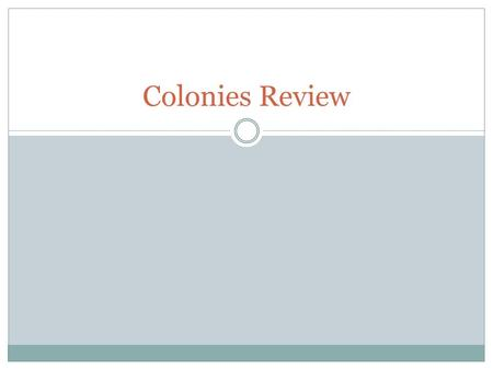 Colonies Review.