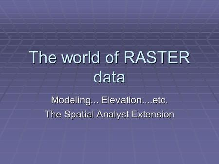 The world of RASTER data Modeling... Elevation....etc. The Spatial Analyst Extension.