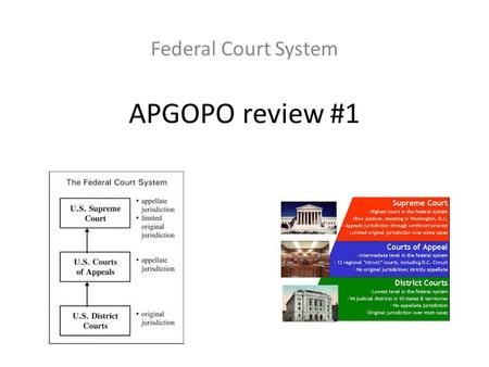 APGOPO review #1 Federal Court System. The Federal Court System- I. Four Characteristics a. Adversarial 1. Impartial Arbiter=Judge 2.The PLAINTIFF 3.