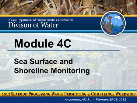 Module 4C Sea Surface and Shoreline Monitoring. Module 4C – Sea Surface & Shoreline Monitoring Stephanie Mann Environmental Program Specialist III 2.