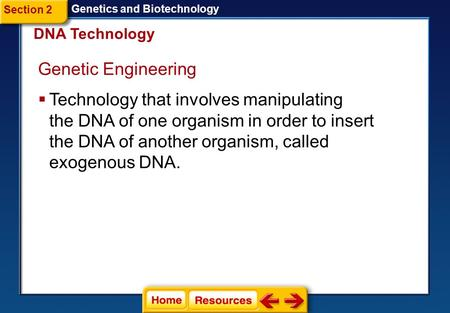 Genetic Engineering  Technology that involves manipulating the DNA of one organism in order to insert the DNA of another organism, called exogenous DNA.