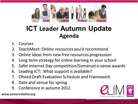 ICT Leader Autumn Update 1.Courses 2.TeachMeet: Online resources you'd recommend 3.Online ideas from new free resources progression 4.Long term strategy.