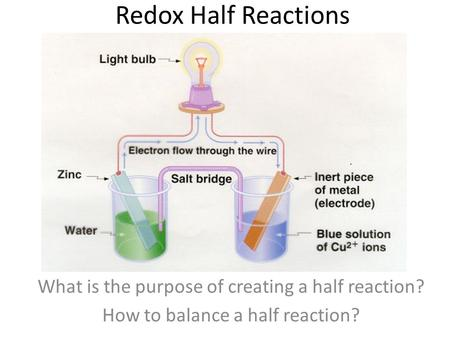 Redox Half Reactions What is the purpose of creating a half reaction? How to balance a half reaction?