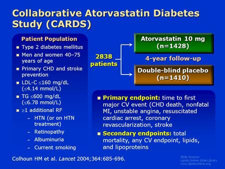 Slide Source: Lipids Online Slide Library www.lipidsonline.org Collaborative Atorvastatin Diabetes Study (CARDS) Type 2 diabetes mellitus Men and women.