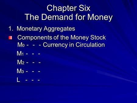 Chapter Six The Demand for Money 1. Monetary Aggregates Components of the Money Stock M 0 --- Currency in Circulation M 1 --- M 1 --- M 2 --- M 2 --- M.