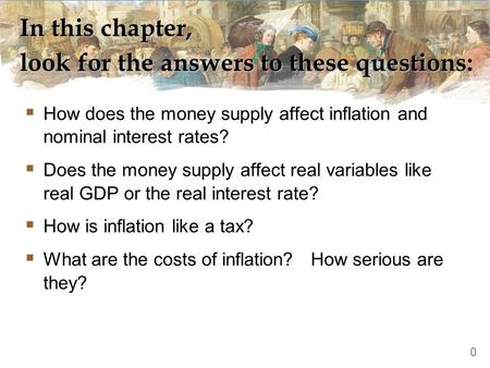 In this chapter, look for the answers to these questions:  How does the money supply affect inflation and nominal interest rates?  Does the money supply.