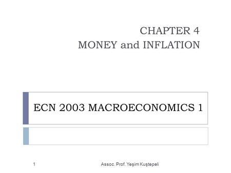 ECN 2003 MACROECONOMICS 1 CHAPTER 4 MONEY and INFLATION Assoc. Prof. Yeşim Kuştepeli1.