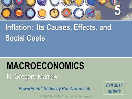 MACROECONOMICS © 2015 Worth Publishers, all rights reserved N. Gregory Mankiw PowerPoint ® Slides by Ron Cronovich Fall 2014 update Inflation: Its Causes,