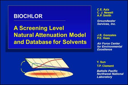 BIOCHLOR A Screening Level Natural Attenuation Model and Database for Solvents C.E. Aziz C. J. Newell A.P. Smith Groundwater Services, Inc. J.R. Gonzales.