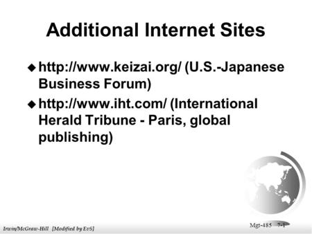 Additional Internet Sites