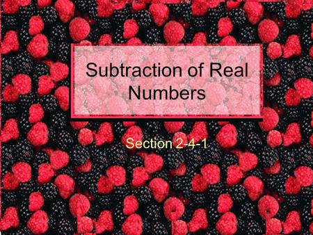 Subtraction of Real Numbers Section 2-4-1. Rule: To subtract ADD the OPPOSITE. This sounds easy. Think about a problem 3 – 6. The operation in this problem.