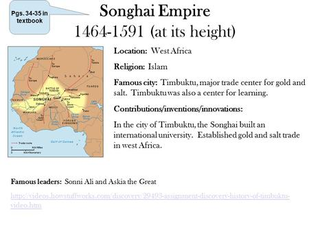 Songhai Empire (at its height)