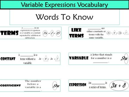 Words To Know Variable Expressions Vocabulary. Translating Words to Variable Expressions 1. The SUM of a number and nine2. The DIFFERENCE of a number.