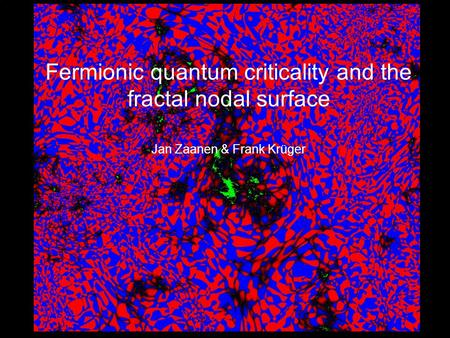Fermionic quantum criticality and the fractal nodal surface Jan Zaanen & Frank Krüger.