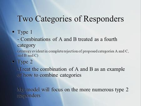 Two Categories of Responders  Type 1 - Combinations of A and B treated as a fourth category (strategy evident in complete rejection of proposed categories.