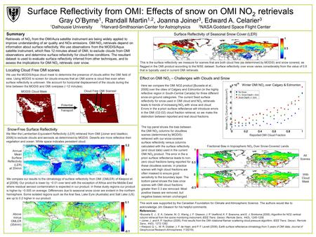 Surface Reflectivity from OMI: Effects of snow on OMI NO 2 retrievals Gray O'Byrne 1, Randall Martin 1,2, Joanna Joiner 3, Edward A. Celarier 3 1 Dalhousie.