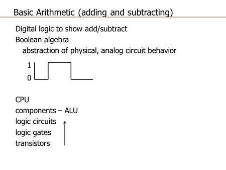 Basic Arithmetic (adding and subtracting)