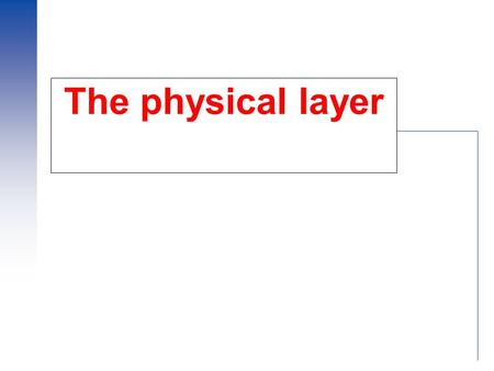 "The physical layer. 2 Physical Layer  Sending raw bits across ""the wire"".  Issues: –What's being transmitted. –Transmission medium. –How it's being."
