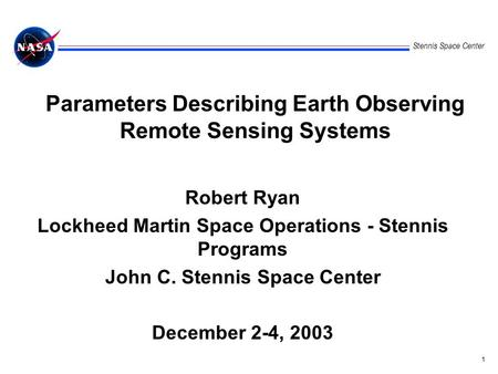 Parameters Describing Earth Observing Remote Sensing Systems