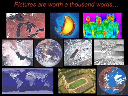 Pictures are worth a thousand words…. Introduction to Remote Sensing Spatial, spectral, temporal resolutions Image display alternatives Vegetation Indices.