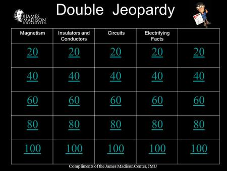 Double Jeopardy MagnetismInsulators and Conductors CircuitsElectrifying Facts 20 40 60 80 100 Compliments of the James Madison Center, JMU.