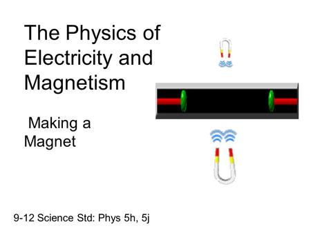 The Physics of Electricity and Magnetism Making a Magnet 9-12 Science Std: Phys 5h, 5j.